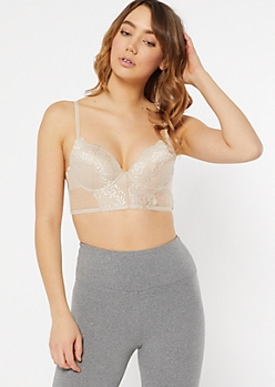 Nude Lace Mesh Longline Push Up Bra