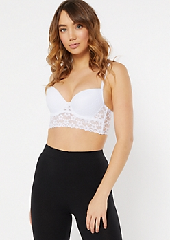 White Longline Daisy Lace Push Up Bra