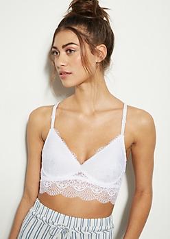 White Lace Open Longline Bralette