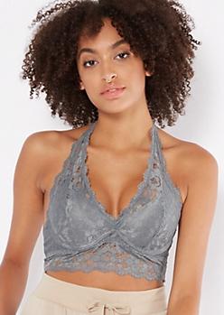 Blue Lace Halter Bralette