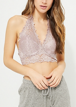 Taupe Lace Longline Halter Bralette