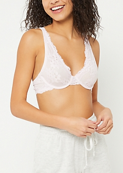 Light Purple Floral Lace Underwire Bra