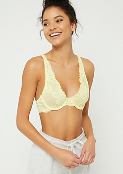 Light Yellow Floral Lace Underwire Bra