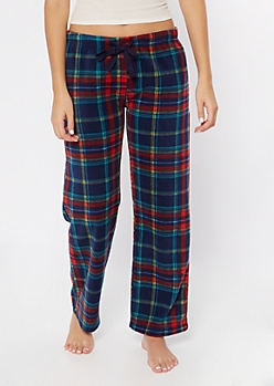 Navy Plaid Print Plush Sleep Pants