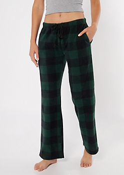 Green Fleece Plaid Print Pajama Pants
