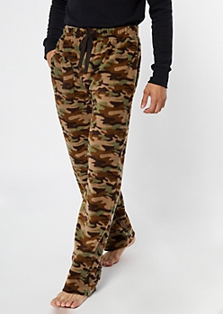 Camo Print Plush Sleep Pants