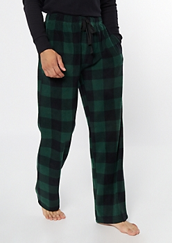 Green Plaid Print Plush Sleep Pants