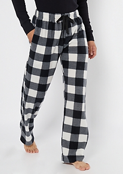 White Plaid Print Plush Sleep Pants