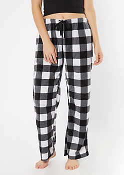 Black Buffalo Plaid Print Plush Sleep Pants