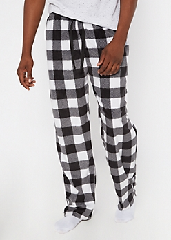 Black Buffalo Plaid Plush Sleep Pants
