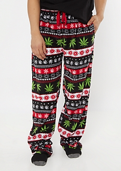 Black Weed Fair Isle Plush Sleep Pants