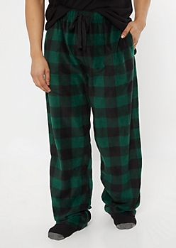 Green Buffalo Plaid Plush Sleep Pants
