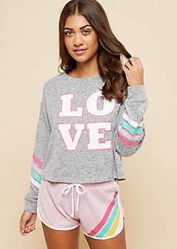 Heather Gray Multi Striped Love Hacci Knit Sleep Top