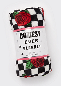 Checkered Rose Print Plush Blanket