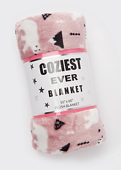 Pink Polar Bear Print Plush Blanket