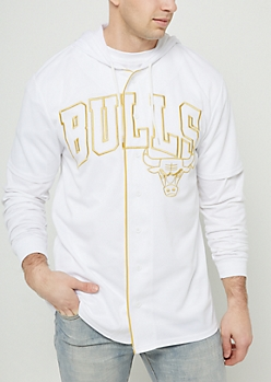NBA Chicago Bulls White Mesh Gold Trim Hooded Jersey