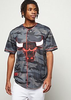 NBA Chicago Bulls Black Camo Print Patch Graphic Jersey