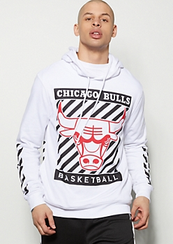 NBA Chicago Bulls White Striped Graphic Hoodie