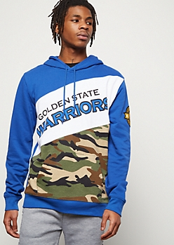 NBA Golden State Warriors Royal Blue Camo Print Colorblock Graphic Hoodie