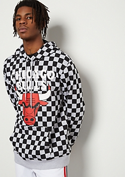 NBA Chicago Bulls Gray Checkered Print Graphic Hoodie