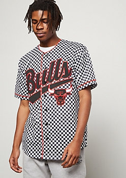 NBA Chicago Bulls Checkered Print Graphic Jersey