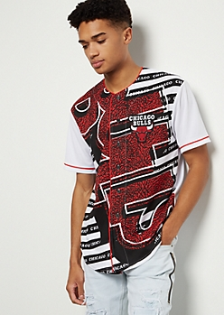 NBA Chicago Bulls White Crackled Striped Graphic Jersey