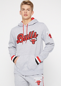 NBA Chicago Bulls Gray Embroidered Hoodie
