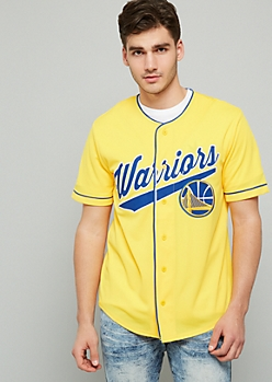 NBA Golden State Warriors Yellow Baseball Jersey