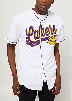 White Los Angeles Lakers Baseball Jersey