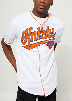 White New York Knicks Baseball Jersey