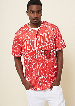 ce1e217592aab NBA Chicago Bulls Red Paint Splattered Graphic Jersey