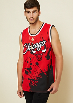 Red Paint Splatter Chicago Bulls Jersey Tank