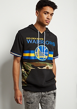 NBA Golden State Warriors Camo Print Striped Hooded Graphic Tee