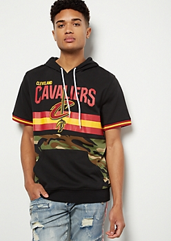 NBA Cleveland Cavaliers Camo Print Striped Hooded Graphic Tee