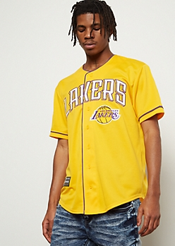 NBA Los Angeles Lakers Yellow Embroidered Graphic Jersey