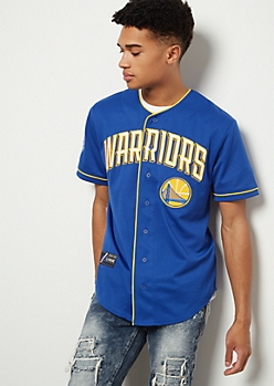 NBA Golden State Warriors Royal Blue Embroidered Graphic Jersey