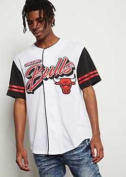 new styles 86742 1500a NBA Chicago Bulls White Varsity Striped Graphic Jersey