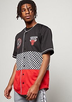 NBA Chicago Bulls Checkered Print Colorblock Finish Line Jersey