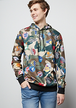 NBA Team Camo Print Graphic Hoodie