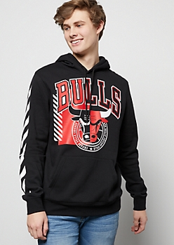 NBA Chicago Bulls Black Striped Emblem Graphic Hoodie