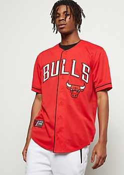NBA Chicago Bulls Red Embroidered Graphic Jersey