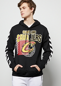 NBA Cleveland Cavaliers Black Striped Emblem Graphic Hoodie