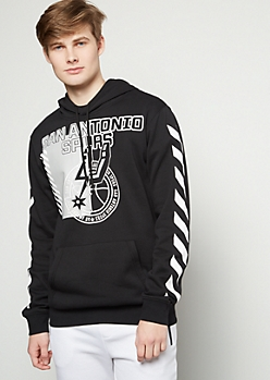 NBA San Antonio Black Side Striped Graphic Hoodie