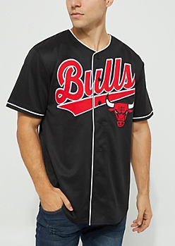 NBA Chicago Bulls Black Button Down Top