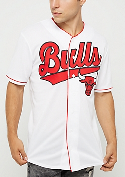 NBA Detroit Pistons White Graphic Baseball Jersey