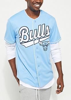 Chicago Bulls Blue Baseball Jersey