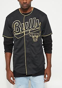 Chicago Bulls Black Baseball Jersey