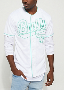 NBA Chicago Bulls All White Button Down Top
