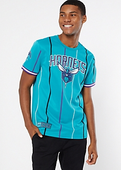 NBA Charlotte Hornets Teal Striped Jersey Tee