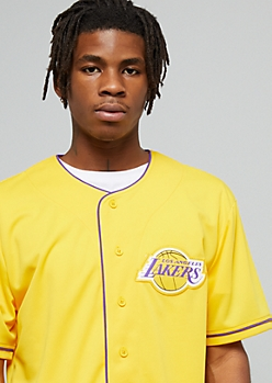 NBA Los Angeles Lakers Yellow 48 Button Down Jersey